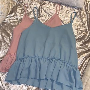 SET OF TWO cami style peplum tops